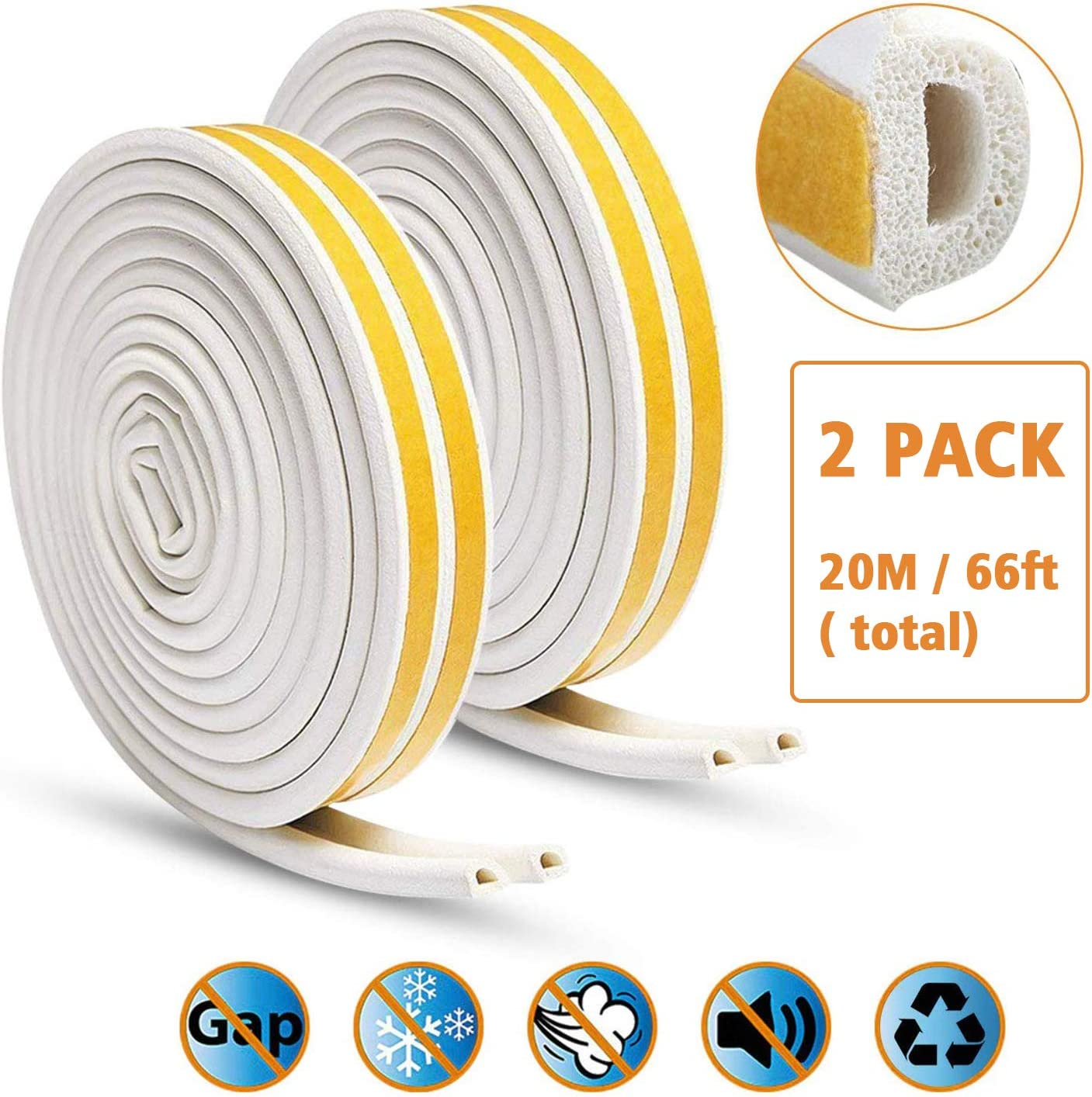 2 Pack Window Seal Strip for Doors and Windows KELIIYO Door Weather Stripping Self-adhisive Foam Weather Strip Door Seal Strip Insulation Gap Blocker Epdm D Type 66ft Brown 20m