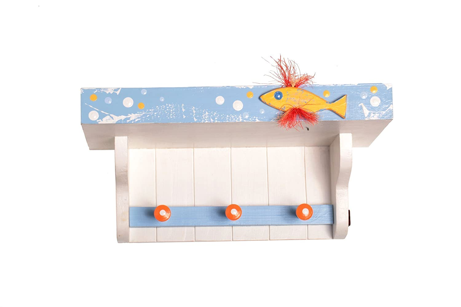 Fish Shelf With Hooks Wood Wall Mounted Nursery Decor