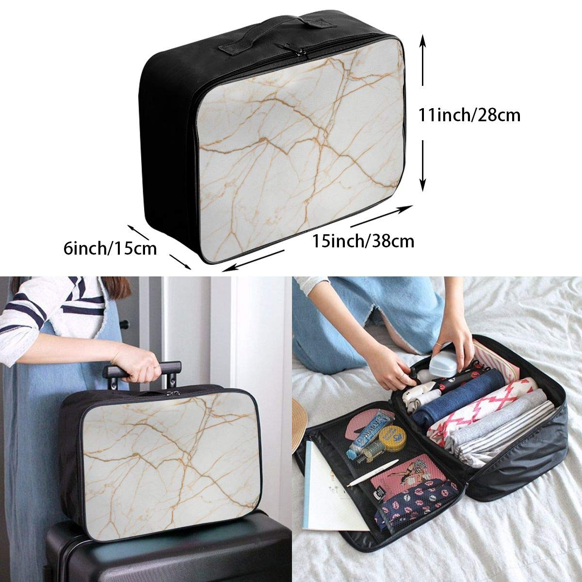 Beige Marble Gold Texture Travel Lightweight Waterproof Folding Storage Portable Luggage Duffle Tote Bag Large Capacity In Trolley Handle Bags 6x11x15 Inch
