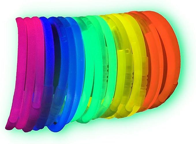 La Vida en Led 100 Pulseras Luminosas Glow Pack Multicolor Conectores extralargos: Amazon.es: Deportes y aire libre