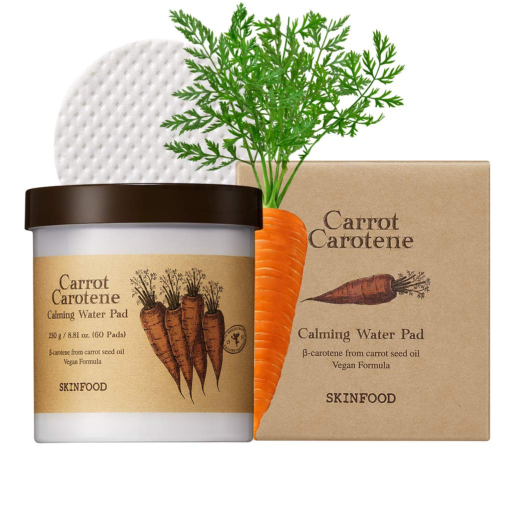 SKINFOOD Carrot Carotene Calming Water Pad 250g (8.81 oz.) 60 Sheets- Redness Relief Soothing Facial Cotton Pads for Sensitive Skin, Vegan, Cruelty Free, Dermatologically Tested