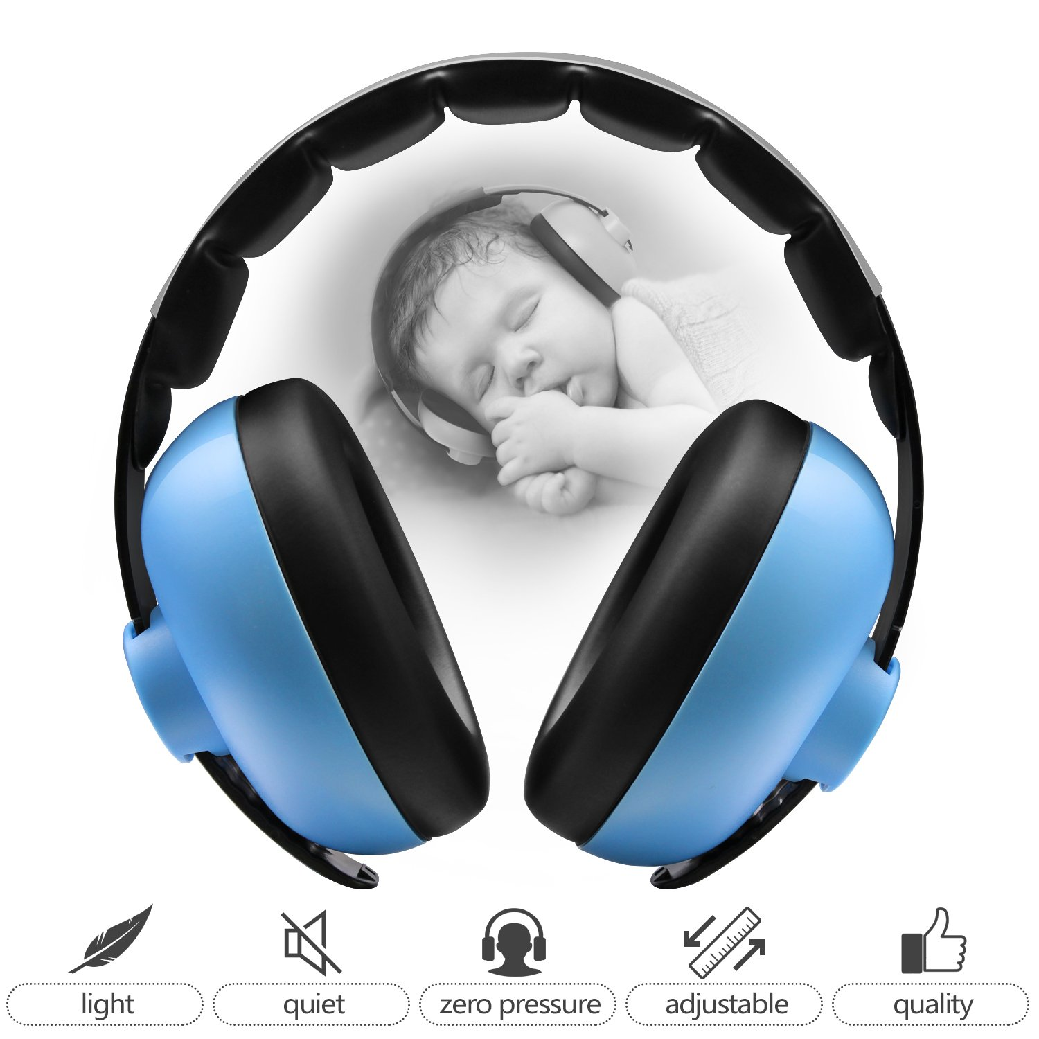 BBTKCARE Baby Ear Protection Noise Cancelling HeadPhones for Babies for 3 Months to 2 Years (Blue) by BBTKCARE