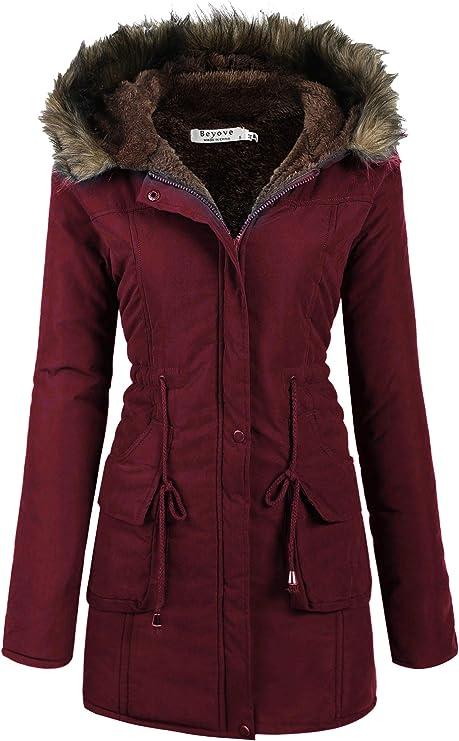Beyove Hooded Warm Winter Coats with Faux Fur Lined Outwear Jacket
