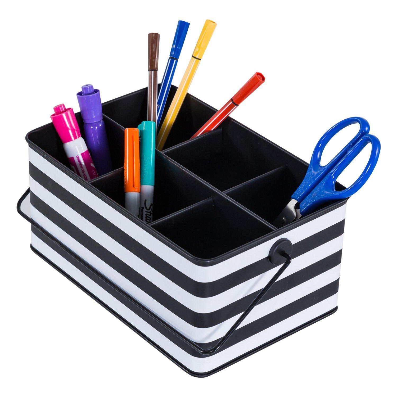 DESIGNA Rectangular Storage Utility Caddy, Organized Utility,9 1/2 x 5 6/8x 3 15/16 inch, Black and White