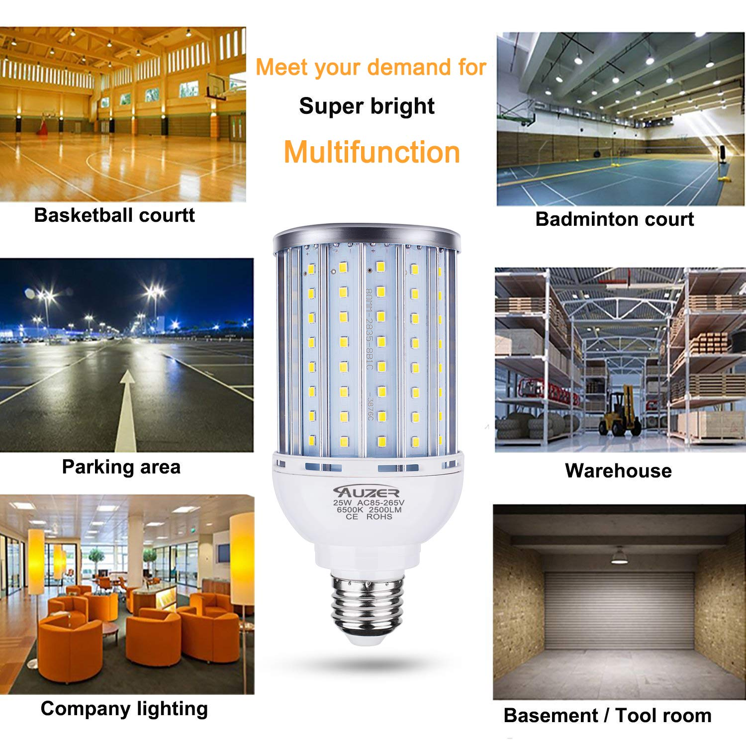 LED Corn Bulb for Indoor Outdoor Large Area Garage Factory Warehouse High Bay /… 300W Equivalent Auzer 45W LED Corn Light Bulb 6500K Daylight Cool White 4500-Lumen E26 Base AC 85V-265V