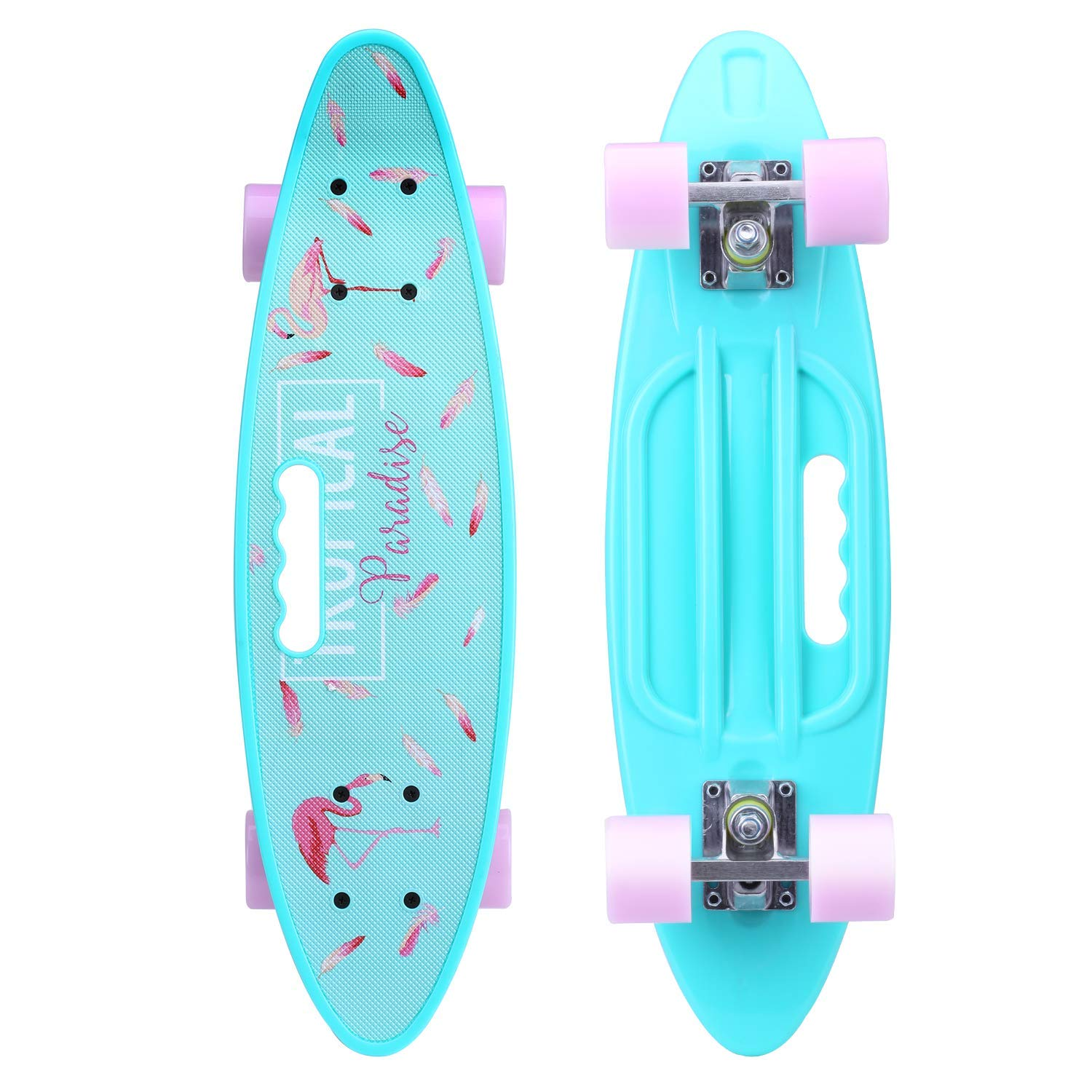 ENKEEO 22 Inch Cruiser Skateboard Complete Plastic Banana Board with Bendable Deck and Smooth PU Casters for Kids Boys Youths Beginners, 220 Ibs. (Flamingo)
