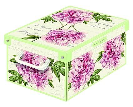 LAVATELLI Caja de Almacenamiento en cartón, Montaje Muy facil, práctica y Decorativa, con