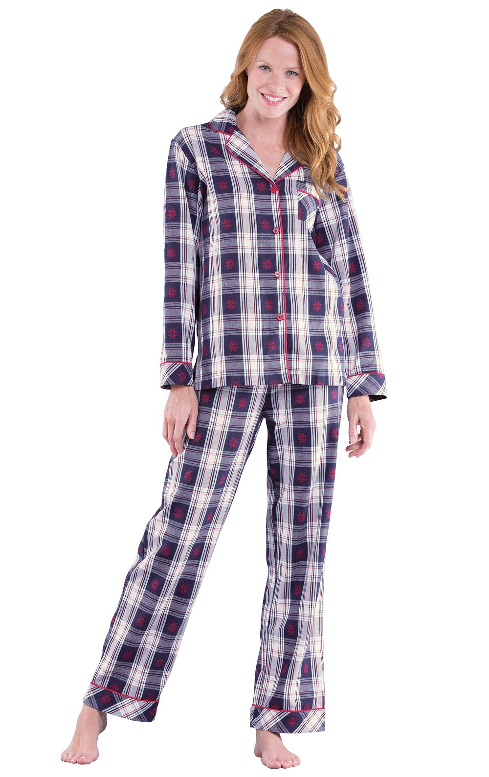 PajamaGram Button Down Pajamas for Women - Cotton Plaid, Blue/Red, S, 4-6