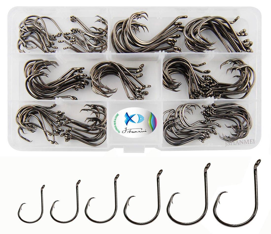 JSHANMEI 150pcs/box Circle Hooks 7384 2X Strong Custom Offset Sport Circle Hooks Black High Carbon Steel Octopus Fishing Hooks-Size:#1-5/0