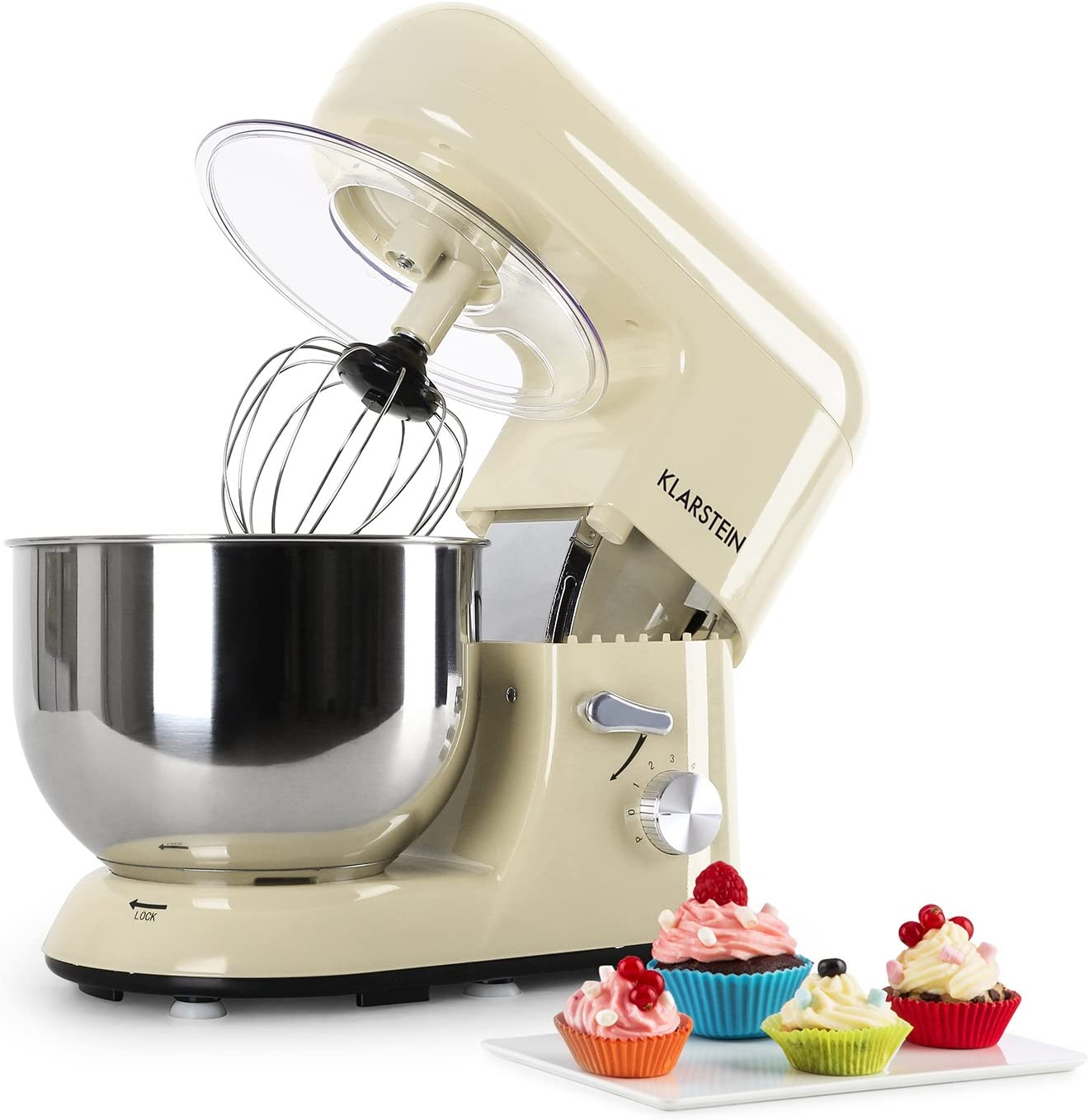 Klarstein Bella Morena - Robot de Cocina, Batidora, Amasadora, 1200 W, 5,2 Litros, 1,6 Ps, Batido Planetario, 6 Niveles de Velocidad, Recipiente de Acero Inoxidable, Color Crema