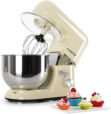 Klarstein Bella Morena - Robot de cocina, Batidora, Amasadora, 1200 W, 5,2 litros, 1,6 PS, Batido planetario, 6 niveles de velocidad, Recipiente de acero inoxidable, Crema: Amazon.es: Hogar