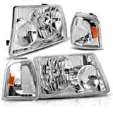 AUTOSAVER88 Headlight Assembly for 01 02 03 04 05 06 07 08 09 10 11 Ford Ranger +Corner light,OE Projector Headlamp,Chrome housing,One-Year Limited Warranty(Driver and Passenger Side,4pcs)