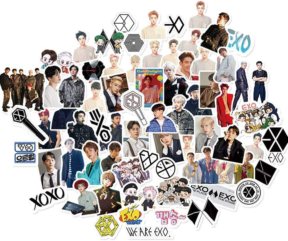 / 65CS Kpop EXO Stickers for Laptop and Water Bottles,Waterproof Skateboard Snowboard Car Bicycle Luggage Decal, Travel Case