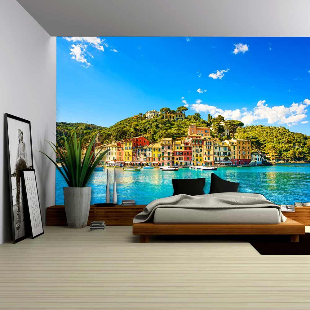 wall26 - Portofino Luxury Landmark Panorama Village and Yacht in Little Bay Harbor Liguria, Italy - Removable Wall Mural   Self-adhesive Large Wallpaper - 100x144 inches