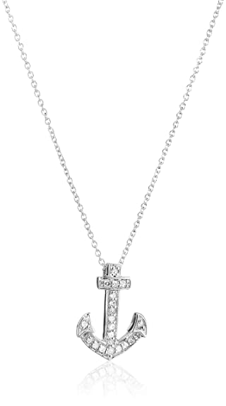 Amazon sterling silver and diamond anchor pendant necklace 1 sterling silver and diamond anchor pendant necklace 110 cttw i j color aloadofball Choice Image