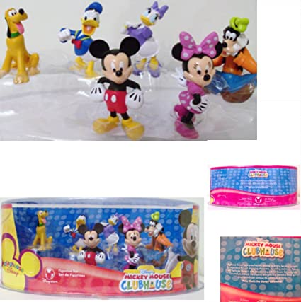 6a07deda9a0 Amazon.com  DISNEY MICKEY MOUSE CLUBHOUSE CAKE TOPPERS 6 Piece Figurine  Playset Mickey Mouse Minnie Mouse Donald Duck Daisy Duck Pluto Goofy  Home    Kitchen