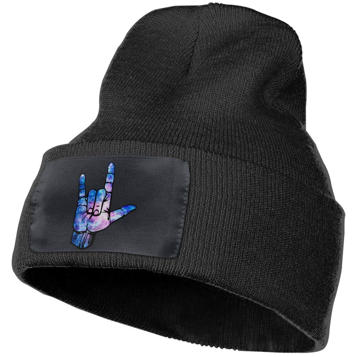 Sheery American Sign Language I Love You Casual Knit Cap for Men Women 100/% Acrylic Acid Skull Cap Woolen Hat