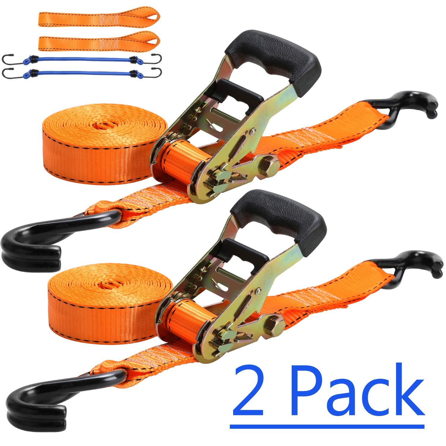 Trekassy Ratchet Tie Down Straps 5,400lbs Break Strength, 2pk 8ft Heavy Duty Cargo Securing Straps with Free Soft Loop for Lawn Equipment, Moving Appliances, Motorcycle by Trekassy