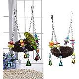 Natural rattan Nest Bird Swing giocattolo con campane per Pappagallini pappagallo cacatua parrocchetto Cockatiels Conure Finch Lovebird Macaw African Greys gabbia persico stand