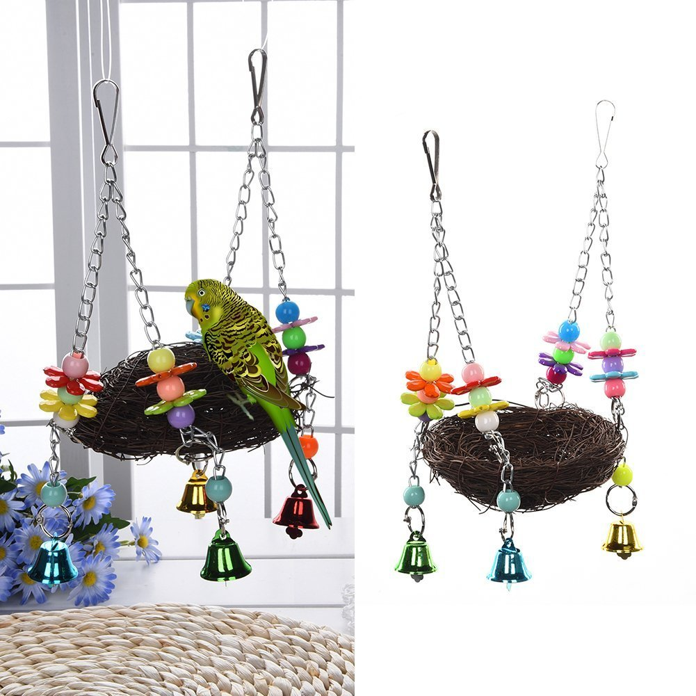 Natural Rattan Nest Bird Swing Toy with Bells for Parrot Cockatoo Macaw Amazon African Grey Budgie Parakeet Cockatiel Conure Lovebird Finch Cage Perch Keersi