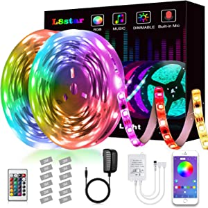 LED Strip Lights, L8star Led Lights Smart Color Changing Rope Lights 32.8ft/10M SMD 5050 RGB Light Strips with Bluetooth Controller Sync to Music Apply for TV, Bedroom and Home Decoration (32.8ft)