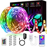LED Strip Lights,L8star 32.8ft(2x16.4ft) Strip Light SMD 5050 RGB with Bluetooth Controller Changing Tape Lights kit with LED Sync to Music for TV,Bedroom,Kitchen Under Counter, Under Bed Lighting