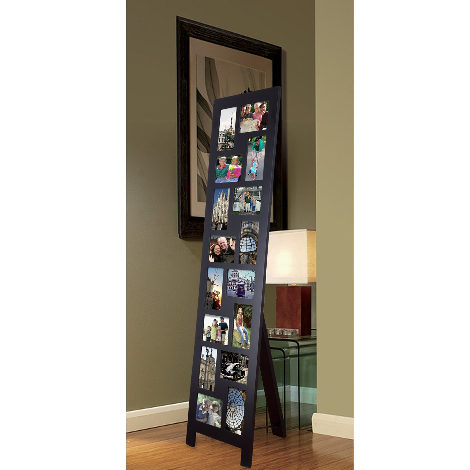 Adeco PF0558 16-Opening Black Wood Floor-Standing Easel Photo Frame, 4 by 6''