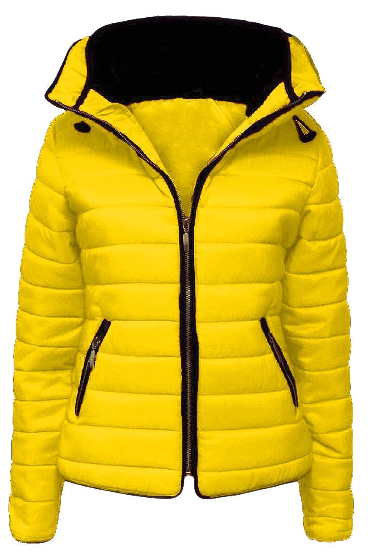 TALLA 40/L. Vanilla Inc - chaqueta de invierno acolchada para mujer, con cremallera, con capucha, cuello forrado