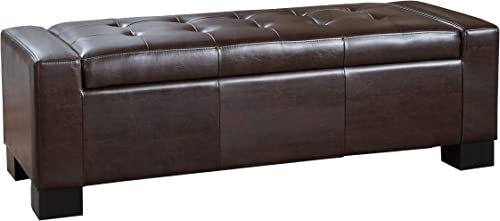 Rothwell Contemporary Tufted Bonded Leather Storage Ottoman Bench