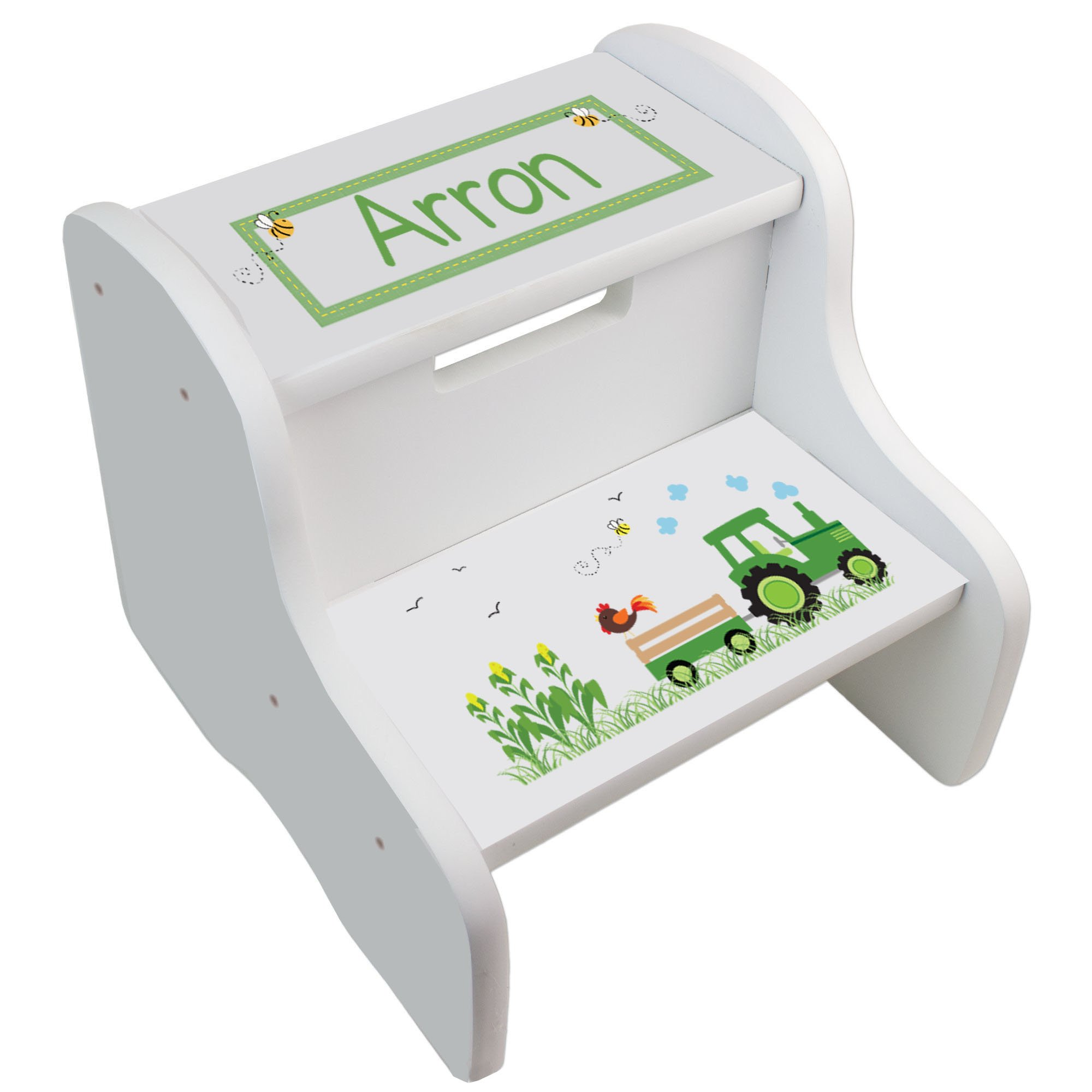 Personalized Green Tractor White Step Stool by MyBambino (Image #1)