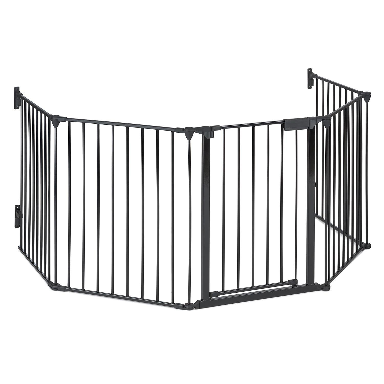 oneConcept Safety First Fireplace Guard Protective Grid 3 m Metal Design Practical Safety Clasps to Quickly Lock Door in Place Parts Required for Fixing Included Five Moveable Parts for Easy Positioning and Adjustment Black