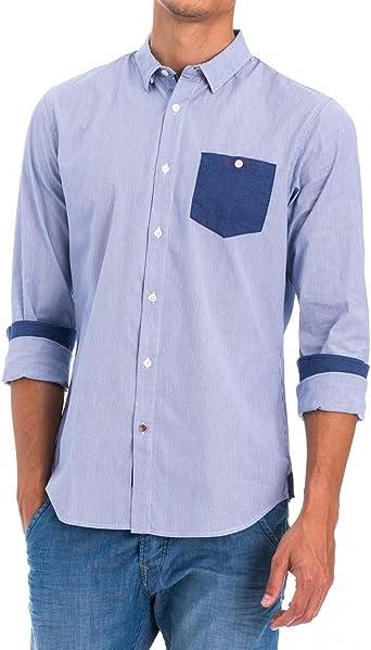 Camisa Hombre Salsa Rayas Azul: Amazon.es: Ropa y accesorios