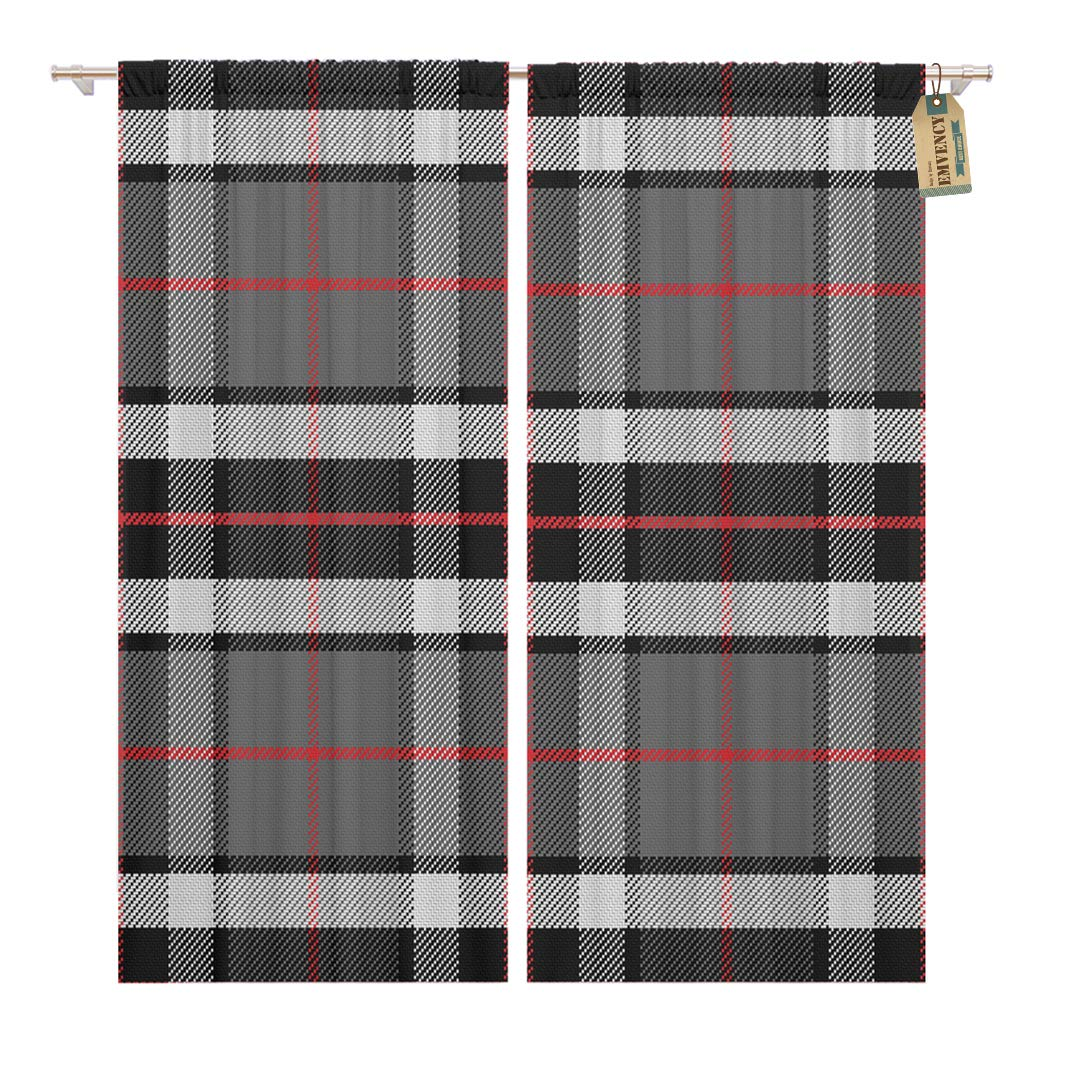 Golee Window Curtain Red Plaid Scottish Tartan Tompson Black Gray and White Home Decor Rod Pocket Drapes 2 Panels Curtain 104 x 63 inches