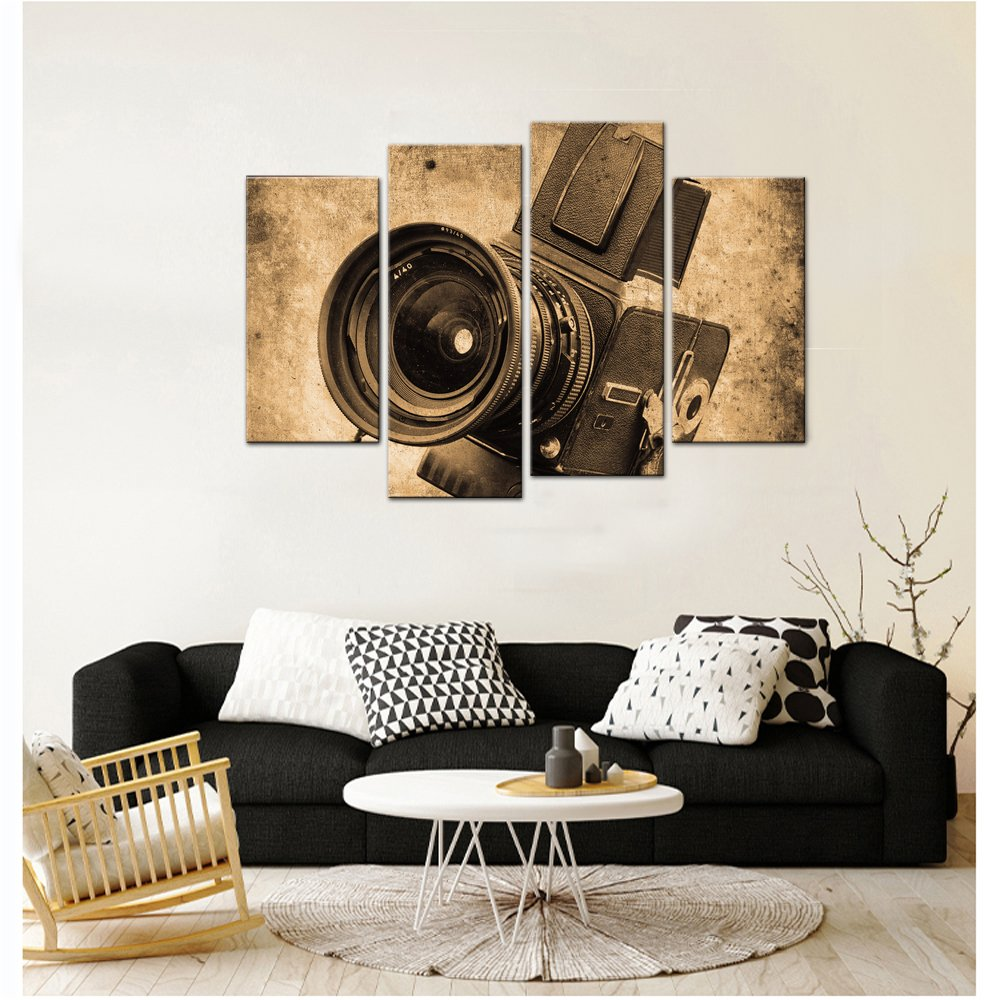 Live Art Decor 4 Panels Wall Art Sepia Tone Piano Keys Pictures Print on Canvas Instrument Abstract Canvas Painting Giclee Print with Wood Frame,Modern Home Decor L717