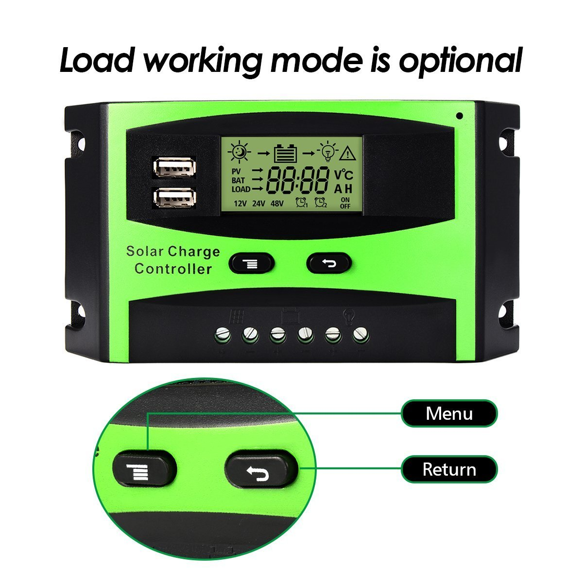Mohoo Solar Charge Controller 30a 12v 24v Panel Regulator Pwm 20a Street Light Autoswitch Lcd Display With Usb For Home Industry Commercial Boat