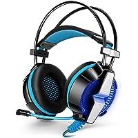 Gaming Headset, Kotıon each3.5mm Oyun kulaklık kafa bandı ile mikrofon stereo Bass PS4PC bilgisayar Laptop Cep telefonları için GS700-black+blue-UK