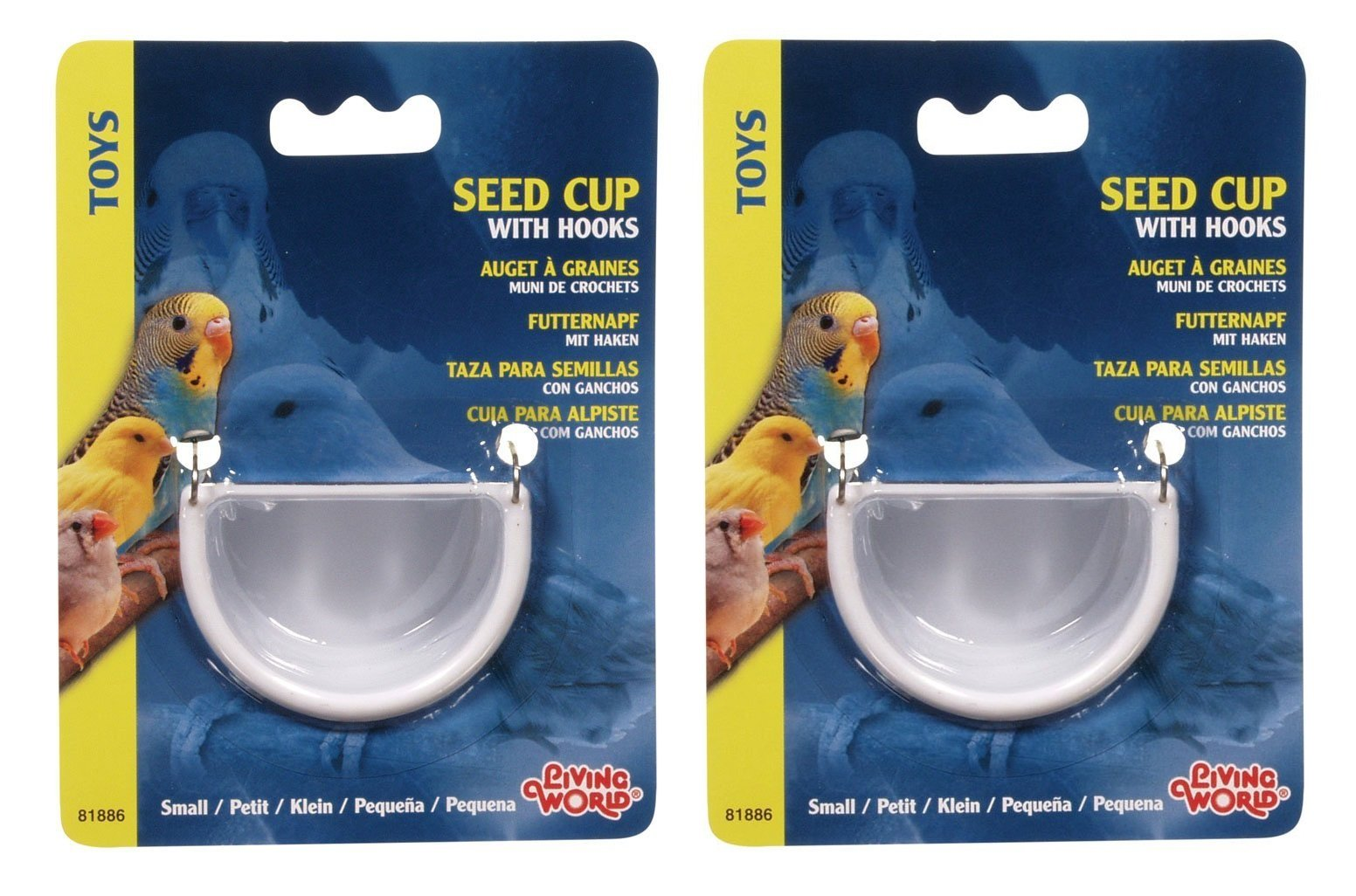 Living World 2 Pack of Seed Cups, Small, with Hooks by Living World