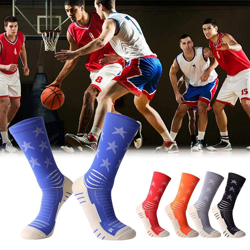 Juman634 Calze Sportive Professionali a met/à Polpaccio Calze con Asciugamano Suola Calze da Uomo Calze atletiche per Corsa Basket Calcio viaggiando Blu