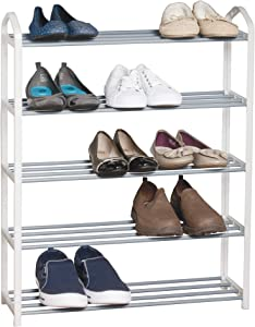 Smart Design 5-Tier Steel Shoe Rack - Holds 15 Pairs of Shoes - Easy Assembly - for Entryway, Closet, Garage - Home Organization (24 x 30 Inch) [White]