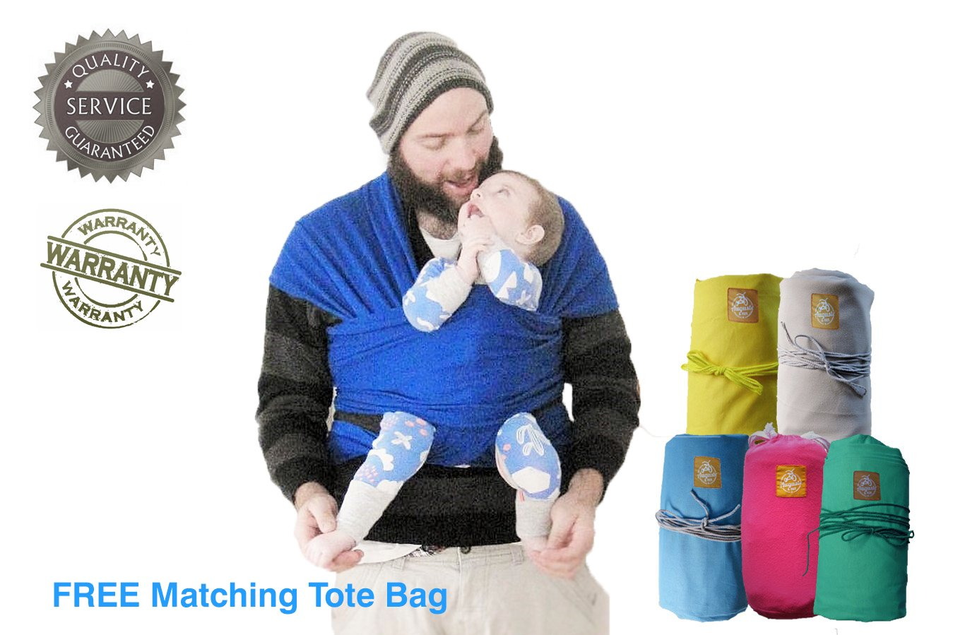 Auguste Hux Grey Cotton Baby Wrap Sling Carrier. In blue, teal, yellow. Soft stretchy light adjustable. Suitable for newborns breastfeeding. Portable, secure, safe. Great baby shower gift.