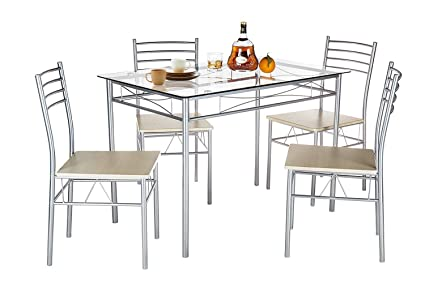 silver dining table and chairs. VECELO Dining Table with 4 Chairs Silver Amazon com
