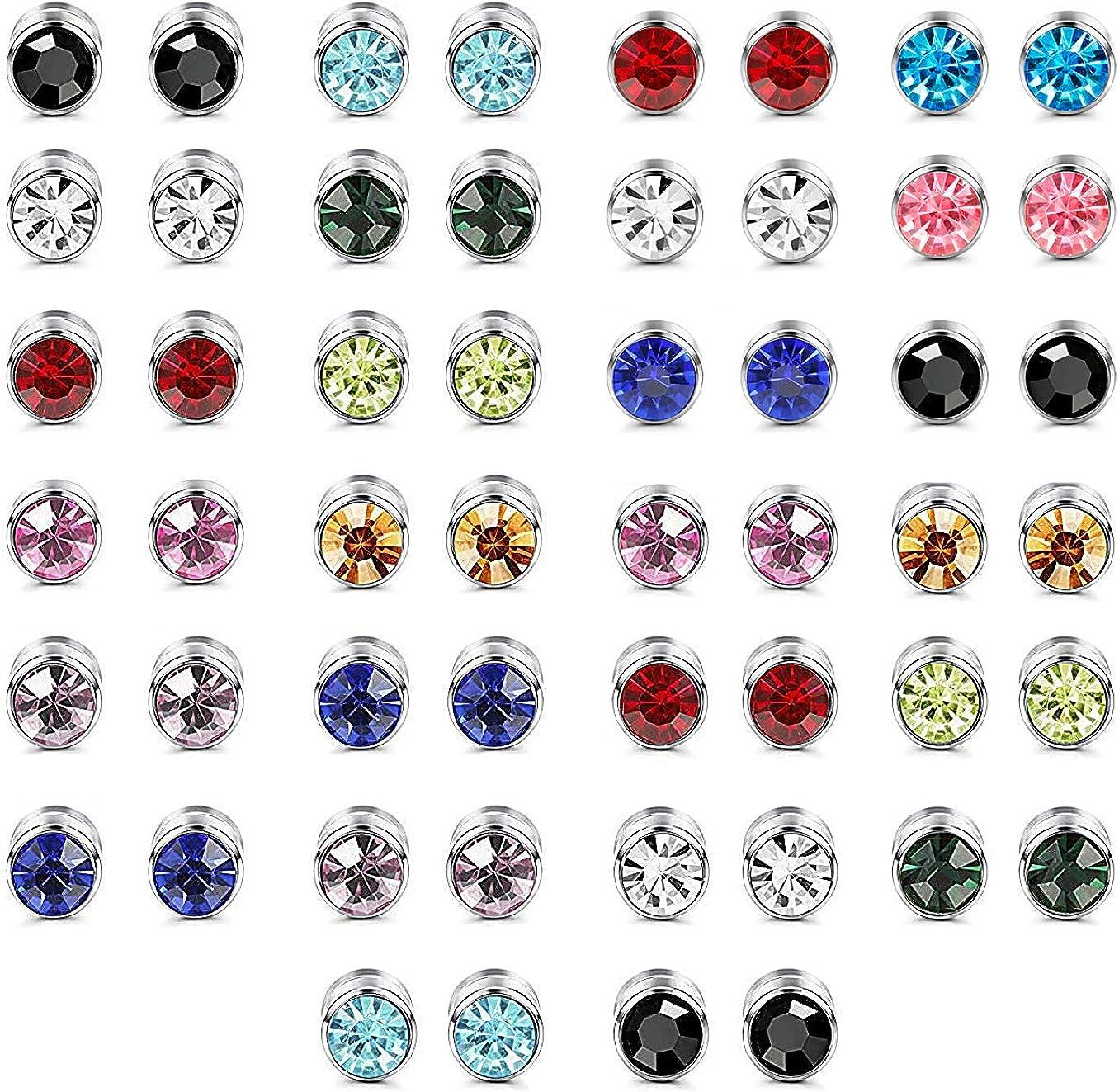 LOLIAS 26Pares Acero Inoxidable Magnético Pendientes para Hombres Mujeres Piedra de Nacimiento Aretes Circón Cúbico Redondo Piercing Pendientes Multicolor 6 MM