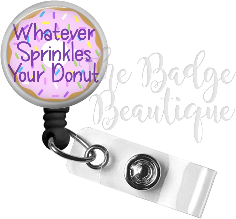 Donut Badge Reel, Retractable ID Badge Reel, Funny Doughnut, Swivel Alligator Clip, 34in. Nylon Cord, Medical MD RN Nurse Badge ID, Badge Holder, ID Badge Pull, Office Employee Name Tag