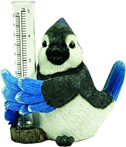Blue Jay Rain Gauge by Michael Carr Designs - Outdoor Bird Rain Gauge Figurine for gardens, patios and lawns (80071)
