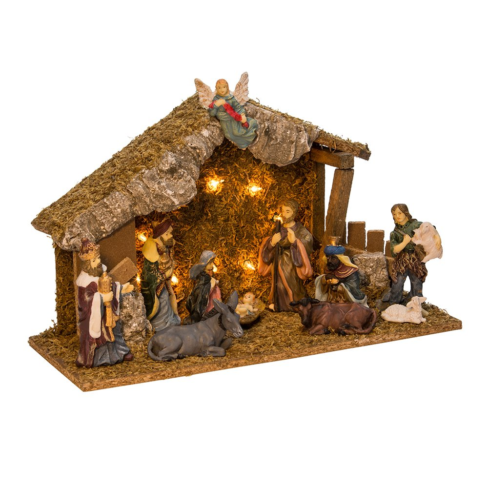 Kurt Adler Wooden Stable with 11 Resin Figures Lighted Nativity Set