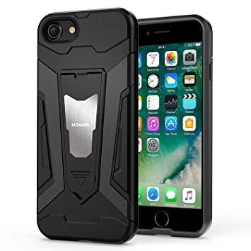 HOOMIL Funda iPhone 7,Funda iPhone 8 Negro Armor Funda para Apple iPhone 7/8 Carcasa Shock-Absorción Silicona Case - Negro (H3247)