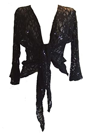 Sparkly Sequin Lace Front Tie Evening Bolero Shrug Sizes 10-22 at ...