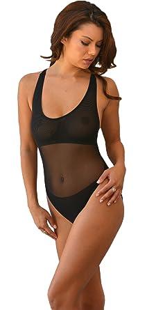 6e639b4d7d309 Brigitewear Cross Back Sheer One Piece Swimsuit at Amazon Women's ...