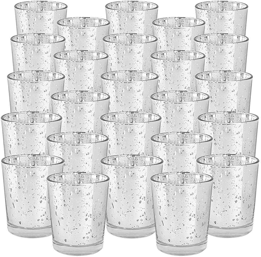 Just Artifacts Mercury Glass Votive Candle Holder 2.75-Inch (25pcs, Speckled Silver) -Mercury Glass Votive Tealight Candle Holders for Weddings, Parties and Home Décor