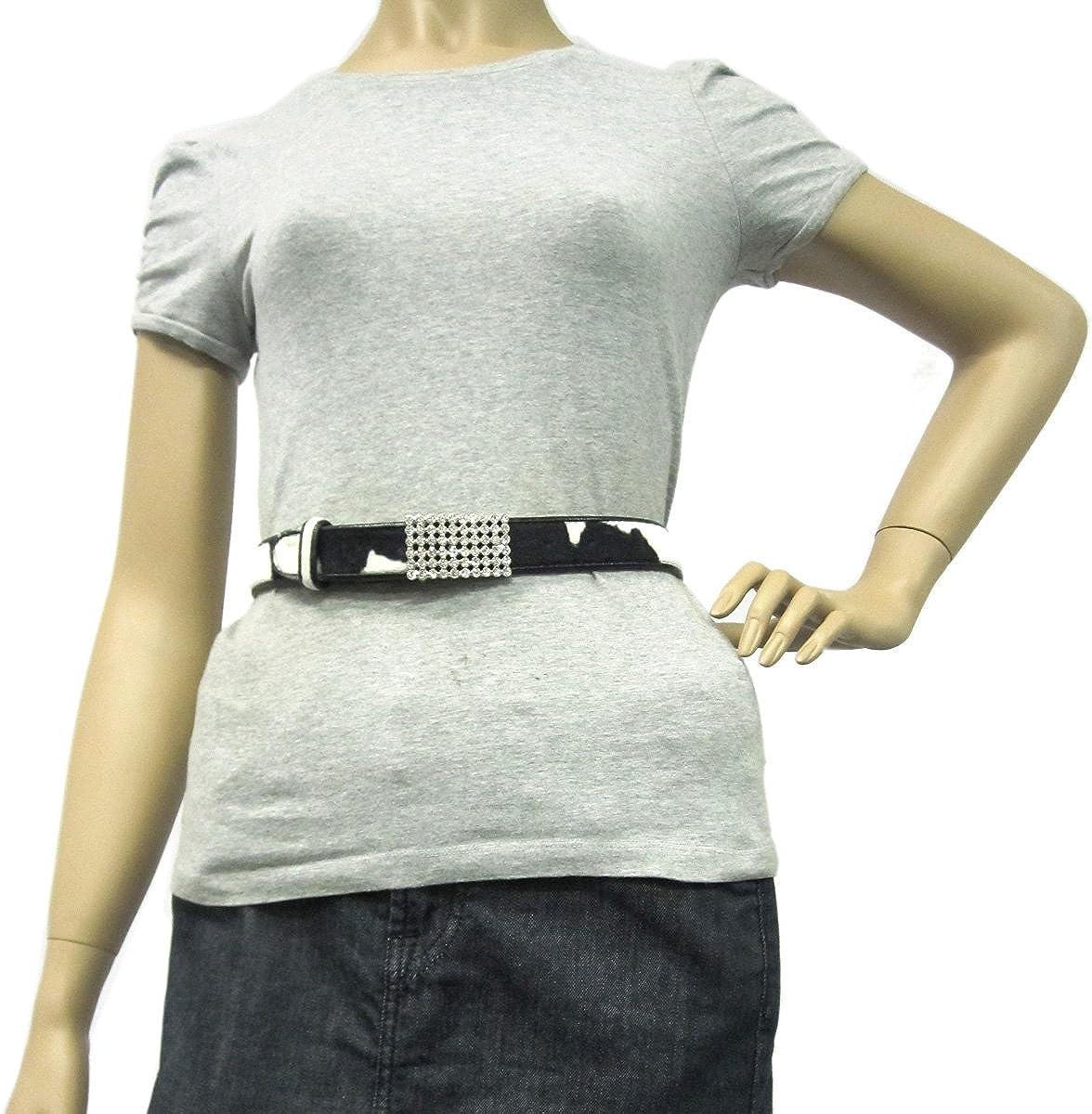 1 1//8 Womens Clear Rhinestone Silver Buckle on Quality Cow Faux Fur Belt